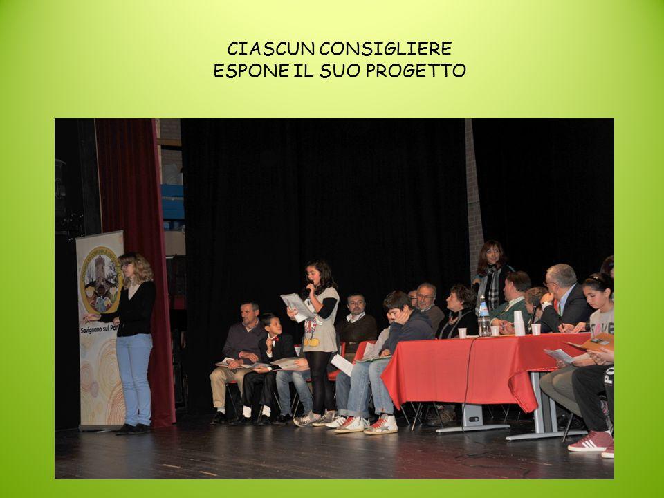 CIASCUN CONSIGLIERE ESPONE IL SUO PROGETTO