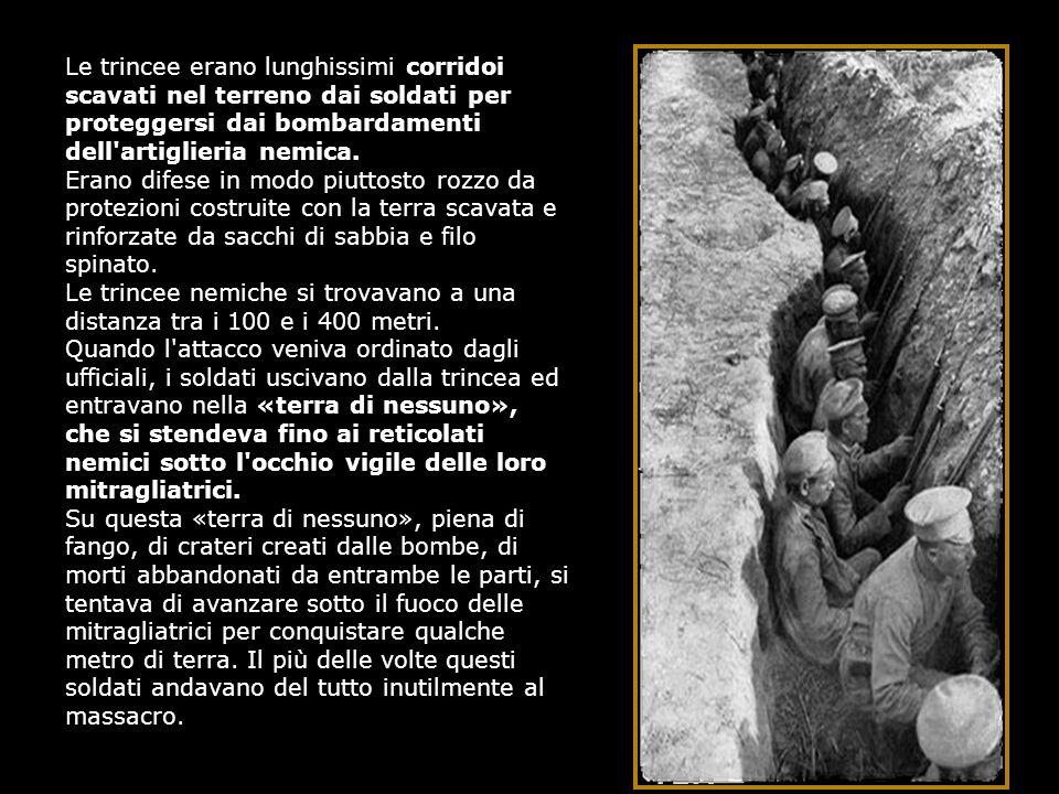 Le trincee erano lunghissimi corridoi scavati nel terreno dai soldati per proteggersi dai bombardamenti dell'artiglieria nemica. Erano difese in modo