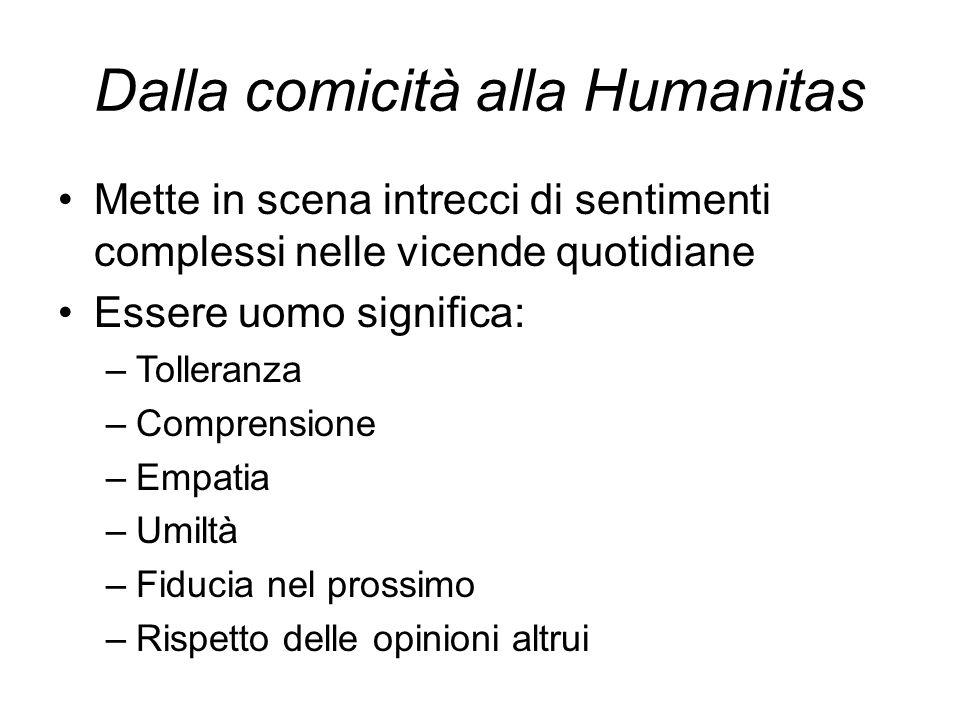 Dalla comicità alla Humanitas Mette in scena intrecci di sentimenti complessi nelle vicende quotidiane Essere uomo significa: –Tolleranza –Comprensione –Empatia –Umiltà –Fiducia nel prossimo –Rispetto delle opinioni altrui