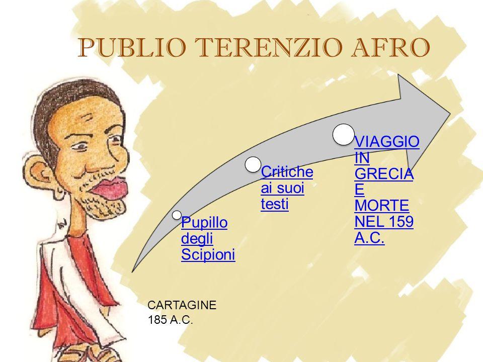 PUBLIO TERENZIO AFRO Pupillo degli Scipioni Critiche ai suoi testi VIAGGIO IN GRECIA E MORTE NEL 159 A.C.