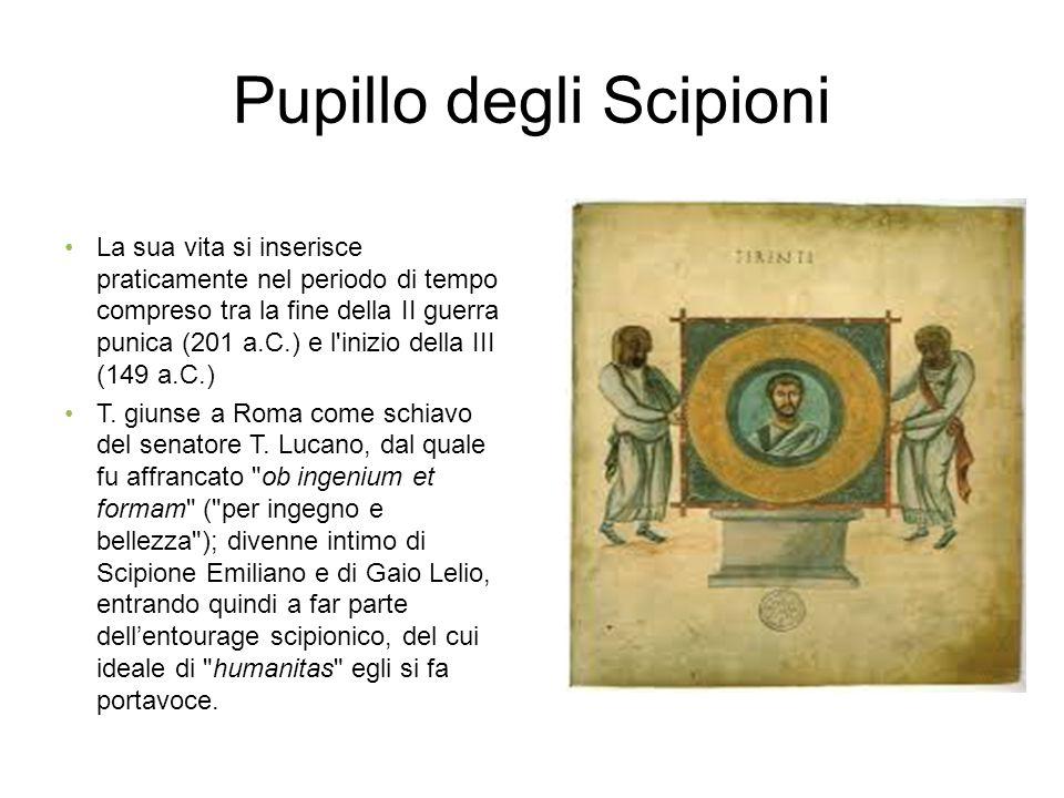Pupillo degli Scipioni La sua vita si inserisce praticamente nel periodo di tempo compreso tra la fine della II guerra punica (201 a.C.) e l inizio della III (149 a.C.) T.