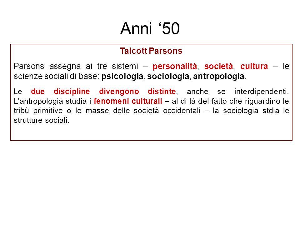 Talcott Parsons Parsons assegna ai tre sistemi – personalità, società, cultura – le scienze sociali di base: psicologia, sociologia, antropologia. Le