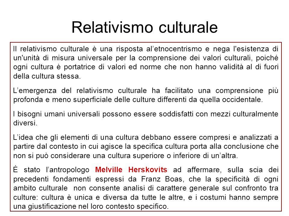 Il relativismo culturale è una risposta al'etnocentrismo e nega l'esistenza di un'unità di misura universale per la comprensione dei valori culturali,
