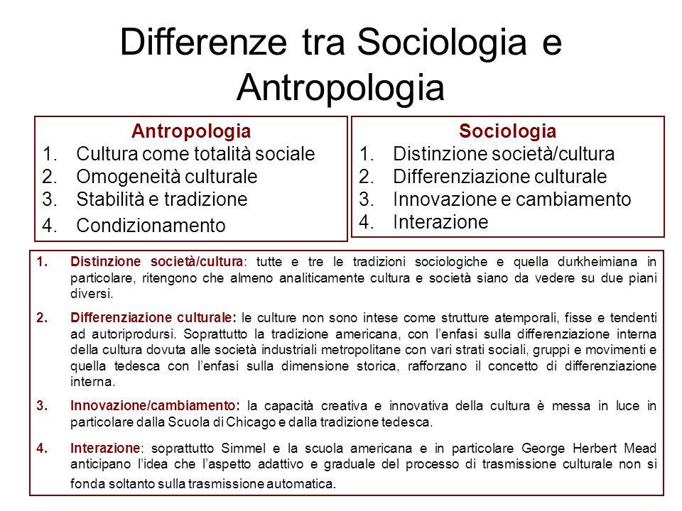 Antropologia 1.Cultura come totalità sociale 2.Omogeneità culturale 3.Stabilità e tradizione 4.Condizionamento Sociologia 1.Distinzione società/cultur