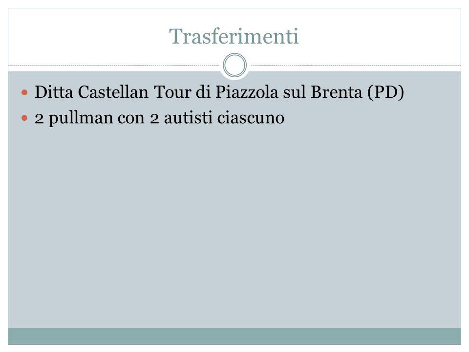 Trasferimenti Ditta Castellan Tour di Piazzola sul Brenta (PD) 2 pullman con 2 autisti ciascuno