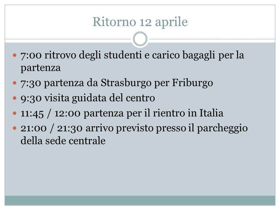 Ritorno 12 aprile 7:00 ritrovo degli studenti e carico bagagli per la partenza 7:30 partenza da Strasburgo per Friburgo 9:30 visita guidata del centro