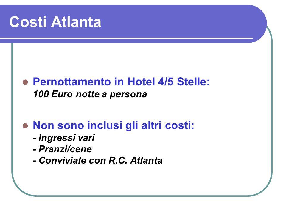 Costi Atlanta Pernottamento in Hotel 4/5 Stelle: 100 Euro notte a persona Non sono inclusi gli altri costi: - Ingressi vari - Pranzi/cene - Conviviale con R.C.