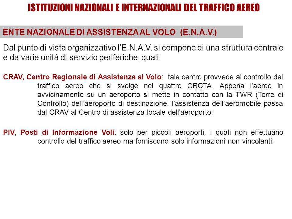 ISTITUZIONI NAZIONALI E INTERNAZIONALI DEL TRAFFICO AEREO ENTE NAZIONALE DI ASSISTENZA AL VOLO (E.N.A.V.) CRAV, Centro Regionale di Assistenza al Volo: tale centro provvede al controllo del traffico aereo che si svolge nei quattro CRCTA.
