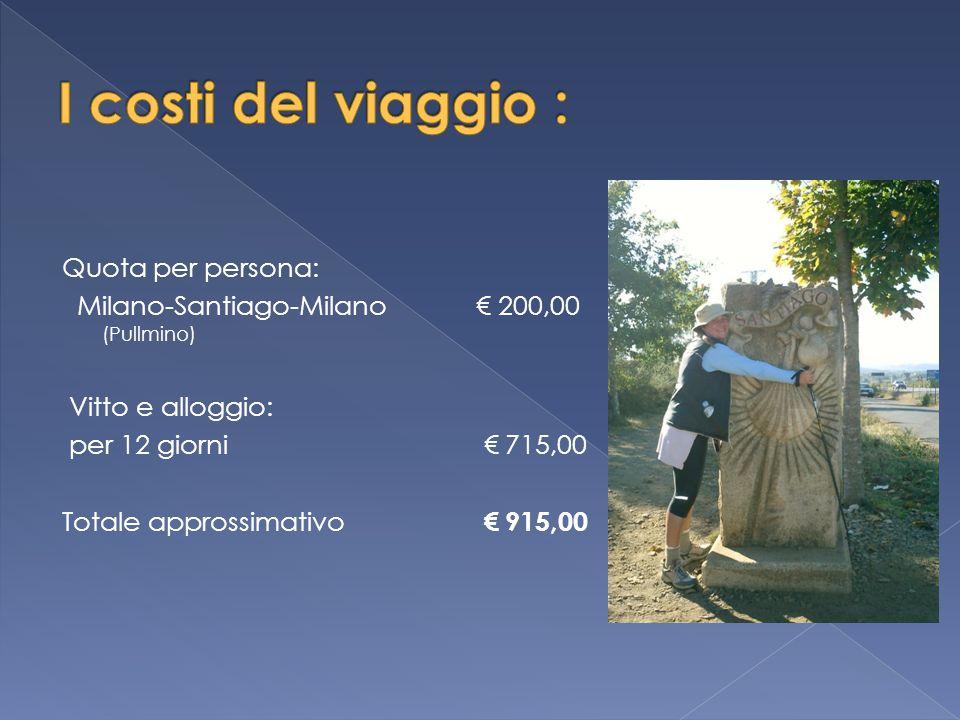 Quota per persona: Milano-Santiago-Milano € 200,00 (Pullmino) Vitto e alloggio: per 12 giorni € 715,00 Totale approssimativo € 915,00