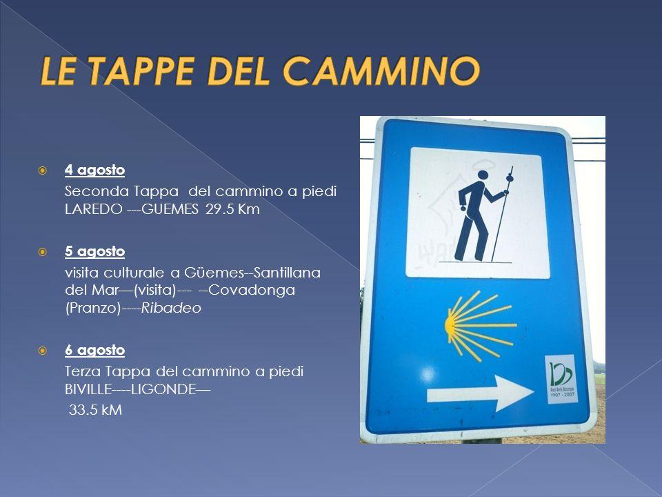  7 agosto Quarta Tappa del cammino a piedi : LIGONDE--- ARZUA--- 38.0 kM  8 agosto Quinta Tappa del cammino a piedi : Arzua--Monte del Gozo-- 33.87 kM  9 agosto Sesta Tappa del cammino : Monte del Gozo---Santiago de Compostela--- 4.56 kM