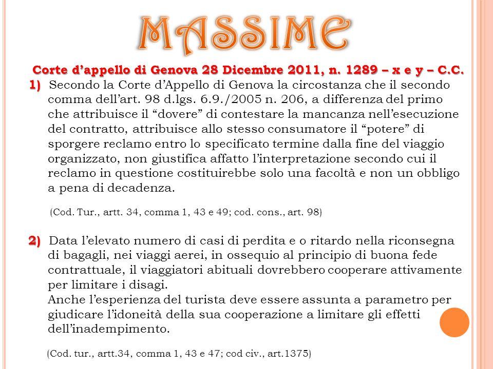 Corte d'appello di Genova 28 Dicembre 2011, n. 1289 – x e y – C.C.