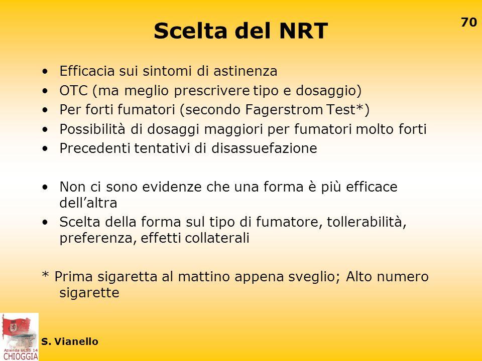 69 S. Vianello Raccomandazioni farmacologiche Non esistono studi controllati con NRT e/o Bupropione che consentano raccomandazioni specifiche per segm