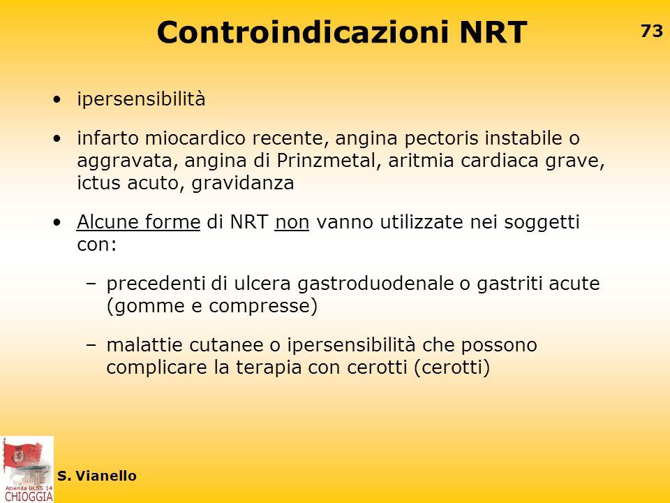 72 S. Vianello Effetti collaterali NRT Gomma –nausea, senso di bruciore jn gola, piccole afte e ulcere alla mucosa orale, bruciore retrosternale da ir