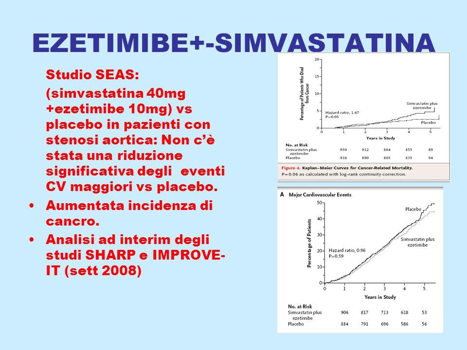 EZETIMIBE+-SIMVASTATINA Studio SEAS: (simvastatina 40mg +ezetimibe 10mg) vs placebo in pazienti con stenosi aortica: Non c'è stata una riduzione significativa degli eventi CV maggiori vs placebo.