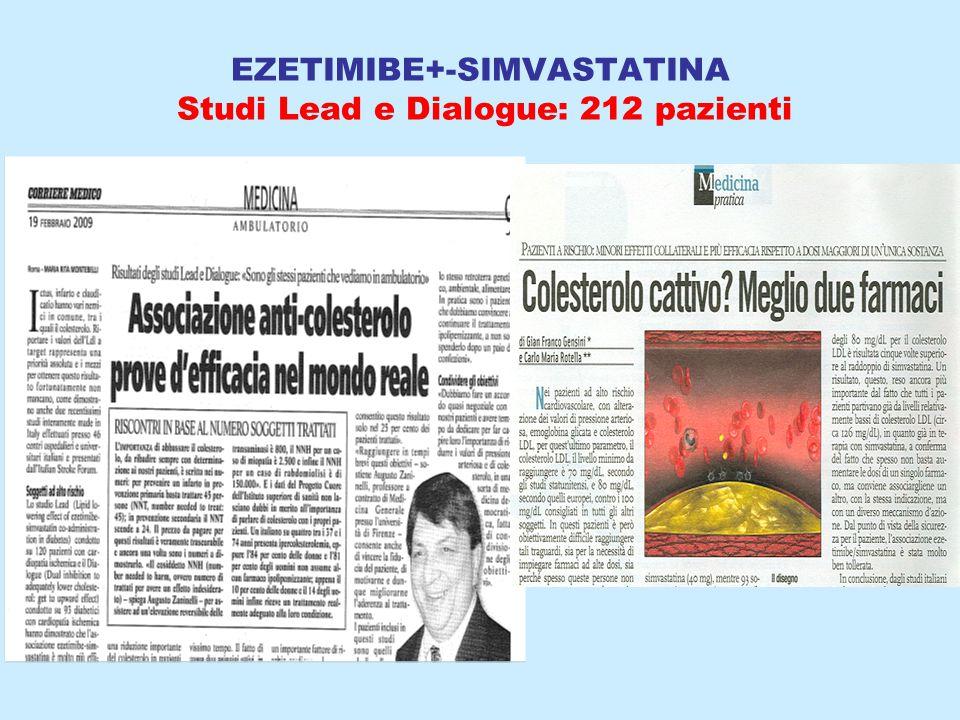 EZETIMIBE+-SIMVASTATINA Studi Lead e Dialogue: 212 pazienti