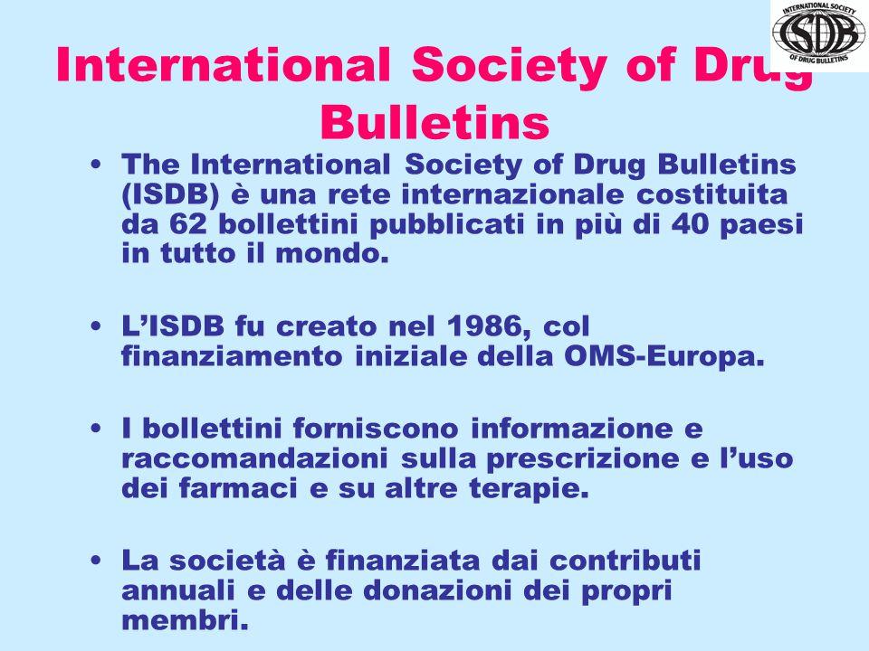 International Society of Drug Bulletins The International Society of Drug Bulletins (ISDB) è una rete internazionale costituita da 62 bollettini pubblicati in più di 40 paesi in tutto il mondo.
