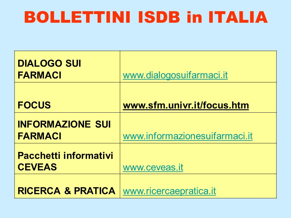 BOLLETTINI ISDB in ITALIA DIALOGO SUI FARMACIwww.dialogosuifarmaci.it FOCUS www.sfm.univr.it/focus.htm INFORMAZIONE SUI FARMACIwww.informazionesuifarm