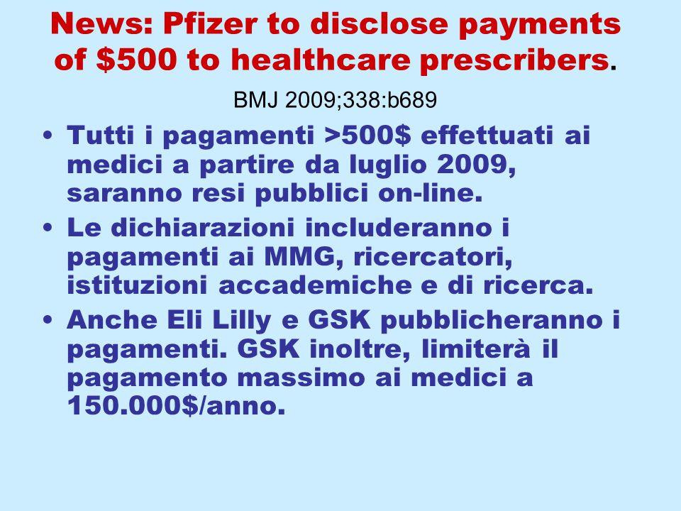 News: Pfizer to disclose payments of $500 to healthcare prescribers. BMJ 2009;338:b689 Tutti i pagamenti >500$ effettuati ai medici a partire da lugli