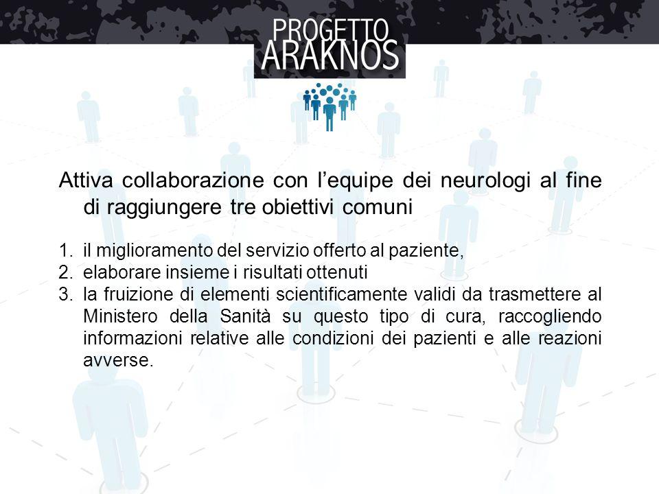 Attiva collaborazione con l'equipe dei neurologi al fine di raggiungere tre obiettivi comuni 1.il miglioramento del servizio offerto al paziente, 2.el