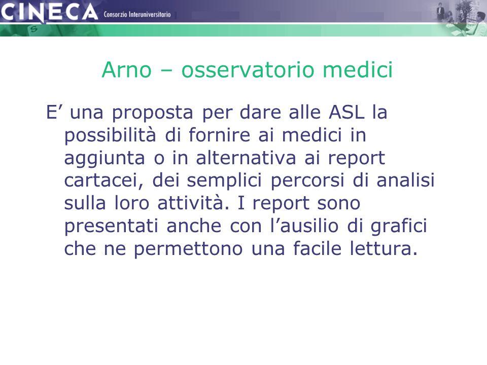 Arno – osservatorio medici E' una proposta per dare alle ASL la possibilità di fornire ai medici in aggiunta o in alternativa ai report cartacei, dei semplici percorsi di analisi sulla loro attività.