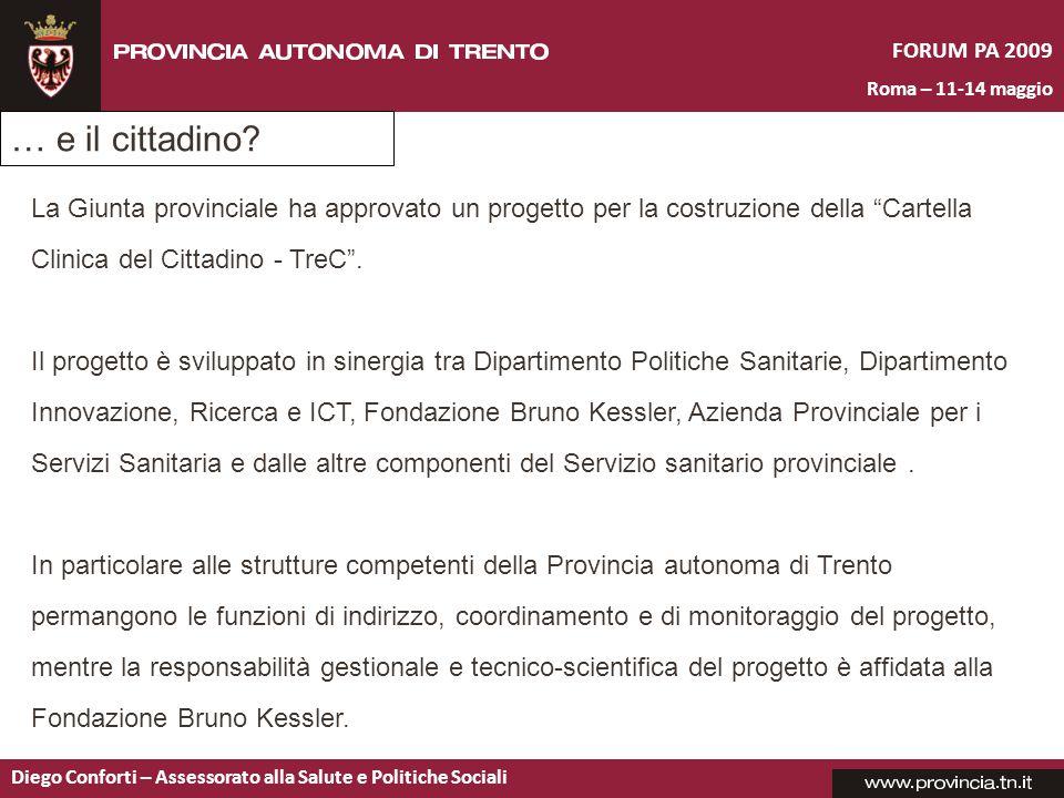 FORUM PA 2009 Roma – 11-14 maggio Diego Conforti – Assessorato alla Salute e Politiche Sociali … e il cittadino? La Giunta provinciale ha approvato un