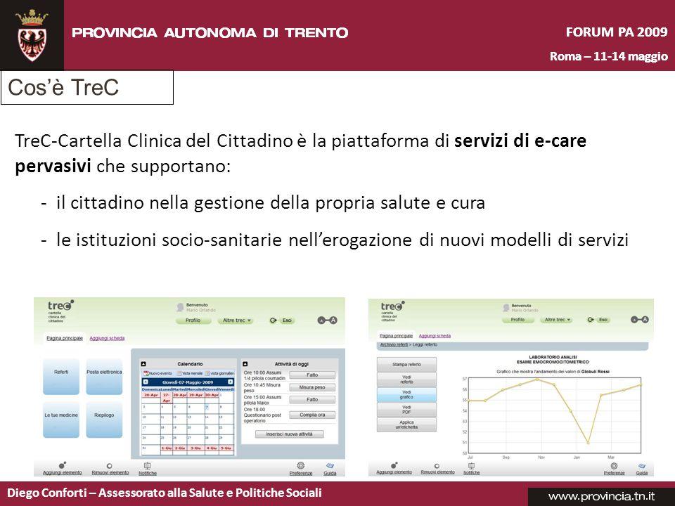 FORUM PA 2009 Roma – 11-14 maggio Diego Conforti – Assessorato alla Salute e Politiche Sociali FORUM PA 2009 Roma – 11-14 maggio TreC-Cartella Clinica