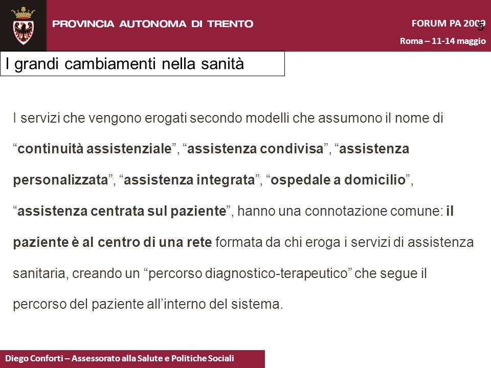 FORUM PA 2009 Roma – 11-14 maggio Diego Conforti – Assessorato alla Salute e Politiche Sociali 5 I servizi che vengono erogati secondo modelli che ass