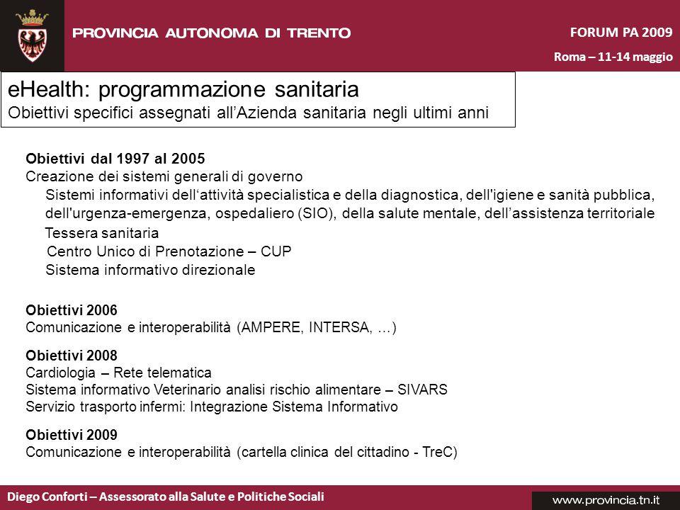 FORUM PA 2009 Roma – 11-14 maggio Diego Conforti – Assessorato alla Salute e Politiche Sociali eHealth: programmazione sanitaria Obiettivi specifici a