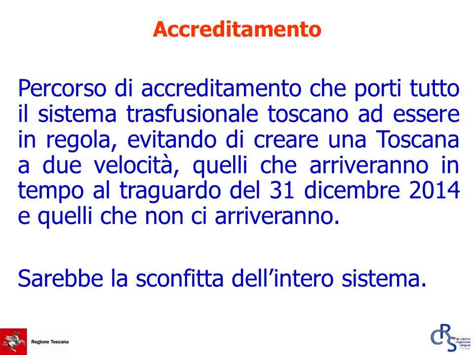 Percorso di accreditamento che porti tutto il sistema trasfusionale toscano ad essere in regola, evitando di creare una Toscana a due velocità, quelli che arriveranno in tempo al traguardo del 31 dicembre 2014 e quelli che non ci arriveranno.