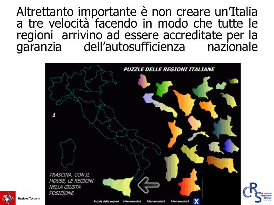 Altrettanto importante è non creare un'Italia a tre velocità facendo in modo che tutte le regioni arrivino ad essere accreditate per la garanzia dell'autosufficienza nazionale