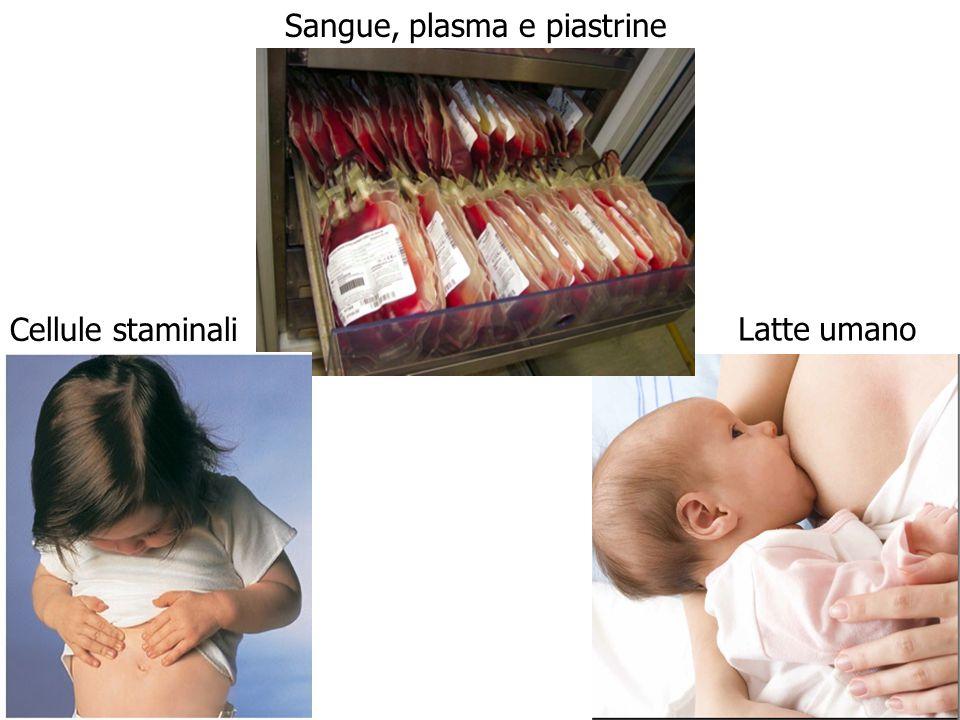 Sangue, plasma e piastrine Cellule staminali Latte umano