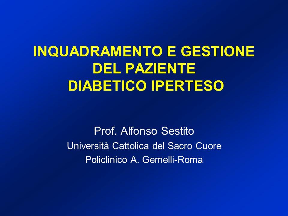 INQUADRAMENTO E GESTIONE DEL PAZIENTE DIABETICO IPERTESO Prof. Alfonso Sestito Università Cattolica del Sacro Cuore Policlinico A. Gemelli-Roma