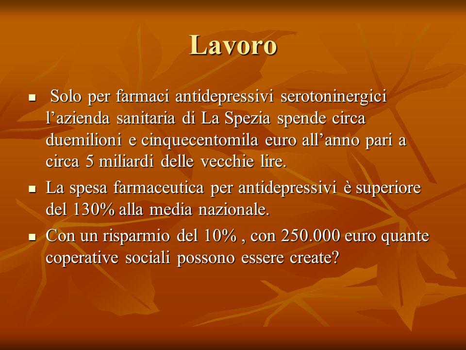 Lavoro Solo per farmaci antidepressivi serotoninergici l'azienda sanitaria di La Spezia spende circa duemilioni e cinquecentomila euro all'anno pari a circa 5 miliardi delle vecchie lire.