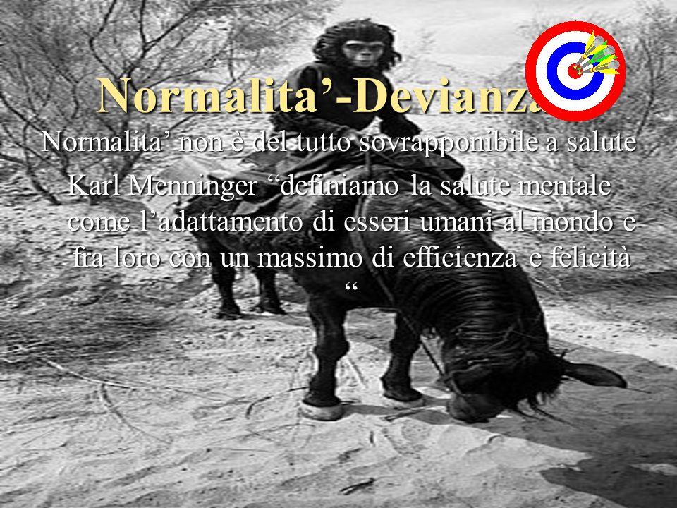 Normalita'-Devianza Normalita' non è del tutto sovrapponibile a salute Karl Menninger definiamo la salute mentale come l'adattamento di esseri umani al mondo e fra loro con un massimo di efficienza e felicità