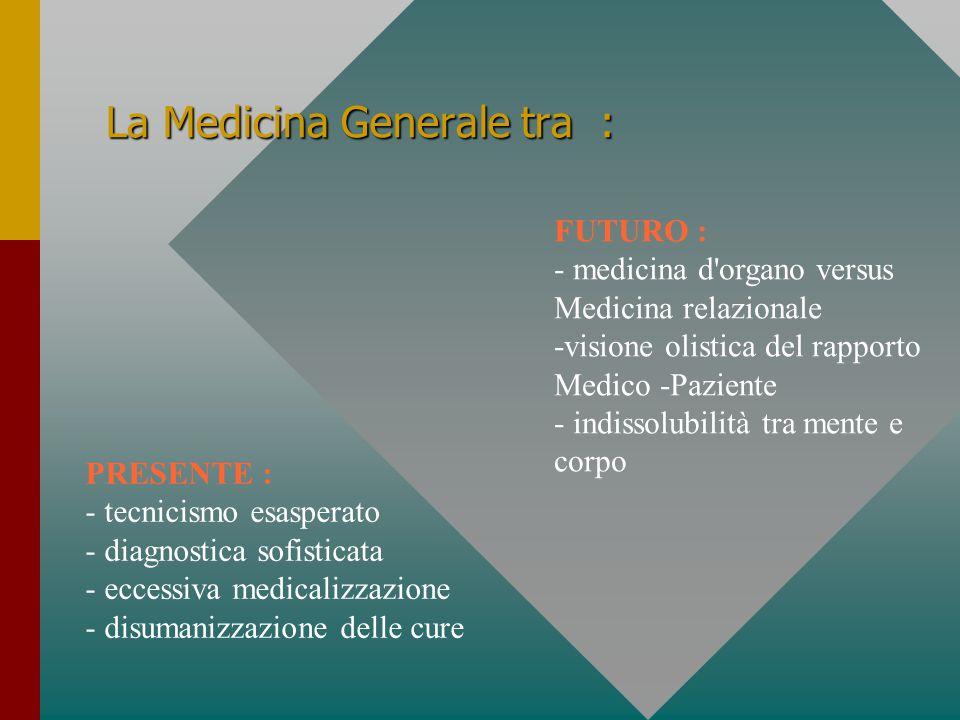 La Medicina Generale tra : PRESENTE : - tecnicismo esasperato - diagnostica sofisticata - eccessiva medicalizzazione - disumanizzazione delle cure FUT