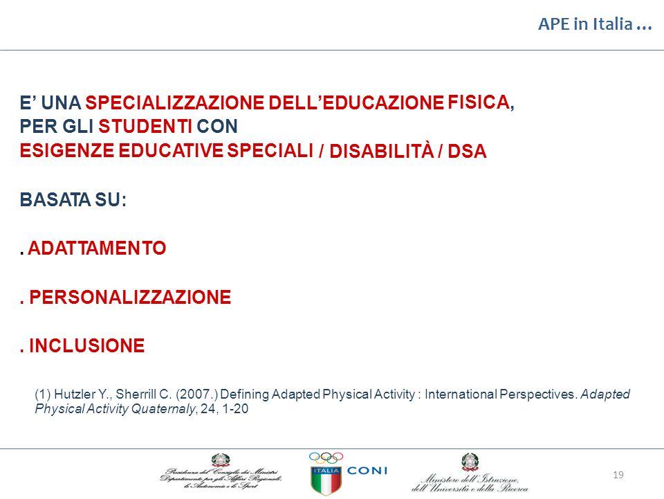 APE in Italia … E' UNA SPECIALIZZAZIONE DELL'EDUCAZIONE PER GLI STUDENTI CON FISICA, ESIGENZE EDUCATIVE SPECIALI /DISABILITÀ/DSA BASATA SU:. ADATTAMEN