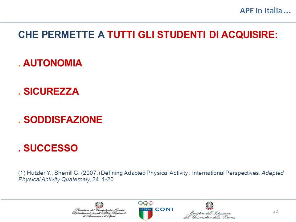 APE in Italia … CHE PERMETTEATUTTIGLISTUDENTIDIACQUISIRE:.AUTONOMIA.SICUREZZA.SODDISFAZIONE.SUCCESSO (1) Hutzler Y., Sherrill C. (2007.) Defining Adap