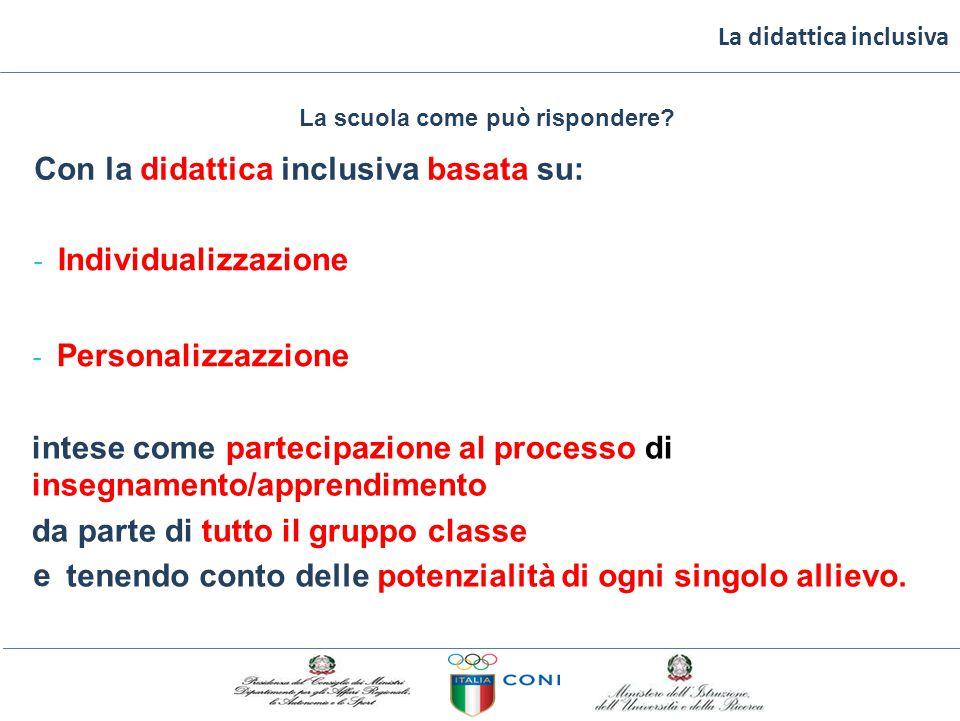 La didattica inclusiva La scuola come può rispondere? Con la didattica inclusiva basatasu: ‐ Individualizzazione ‐ Personalizzazzione intese come part