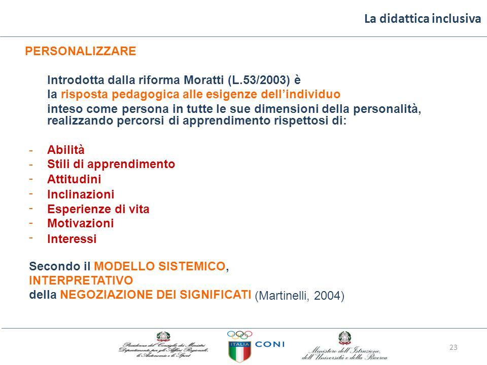 La didattica inclusiva PERSONALIZZARE Introdotta dalla riforma Moratti (L.53/2003) è la risposta pedagogica alle esigenze dell'individuo inteso come persona in tutte le sue dimensioni della personalità, realizzando percorsi di apprendimento rispettosi di: -------------- Abilità Stili di apprendimento Attitudini Inclinazioni Esperienze di vita Motivazioni Interessi Secondo il MODELLO SISTEMICO, INTERPRETATIVO della NEGOZIAZIONE DEI SIGNIFICATI (Martinelli, 2004) 23