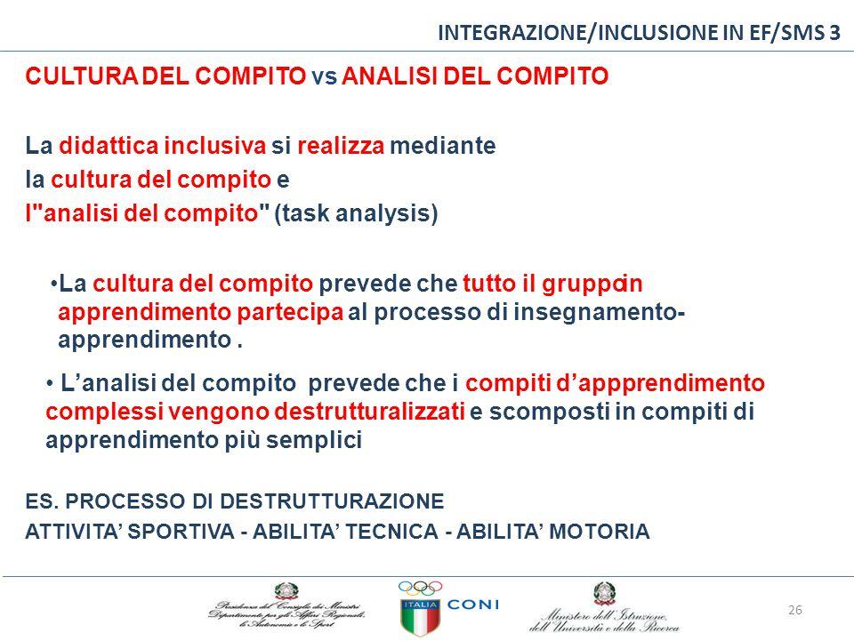 INTEGRAZIONE/INCLUSIONE IN EF/SMS 3 CULTURA DEL COMPITO vs ANALISI DEL COMPITO La didattica inclusiva si realizza mediante la cultura del compito e l