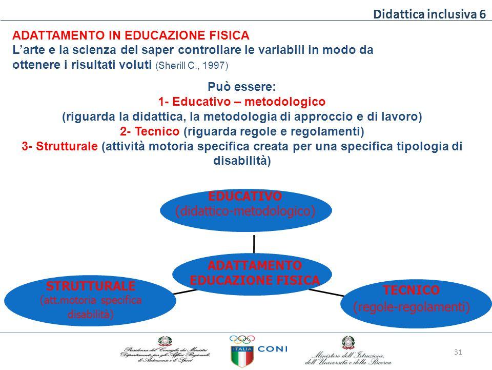 Didattica inclusiva 6 ADATTAMENTO IN EDUCAZIONE FISICA L'arte e la scienza del saper controllare le variabili in modo da ottenere i risultati voluti (