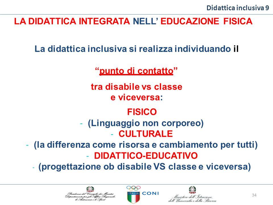 """Didattica inclusiva 9 LA DIDATTICA INTEGRATA NELL' EDUCAZIONE FISICA Ladidatticainclusiva si realizza individuandoil """"punto di contatto"""" tra disabile"""