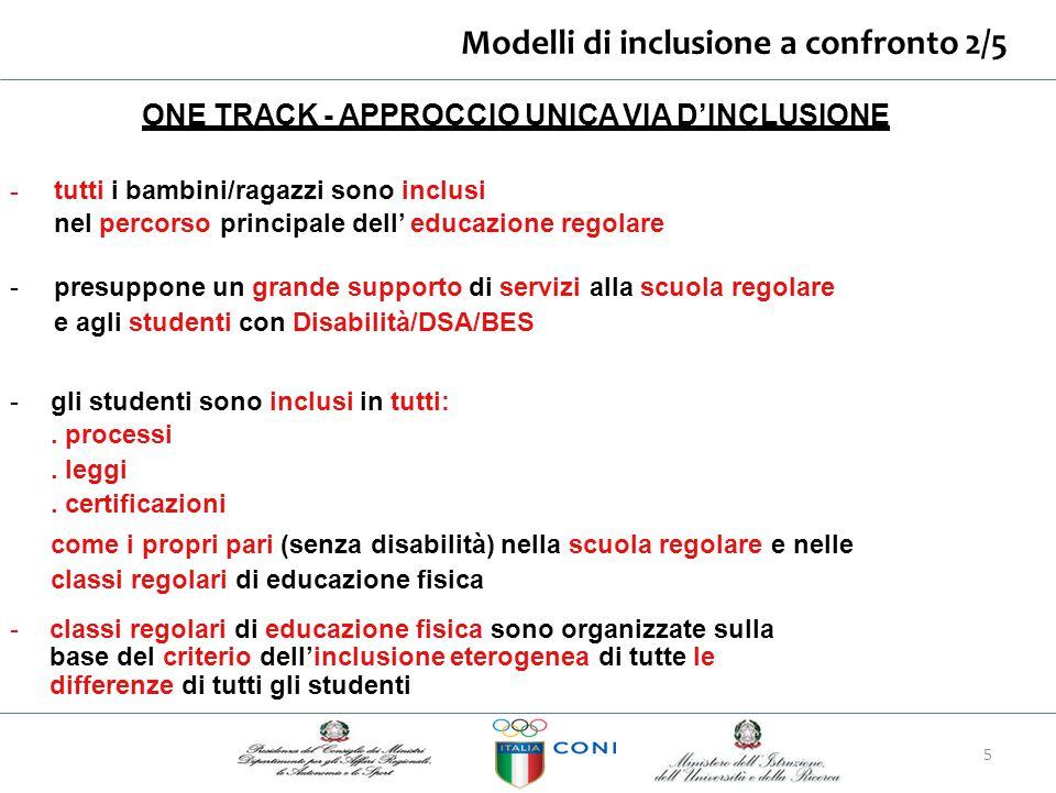 Modelli di inclusione a confronto 2/5 ONE TRACK - APPROCCIO UNICA VIA D'INCLUSIONE - tutti i bambini/ragazzi sono inclusi nel percorso principale dell
