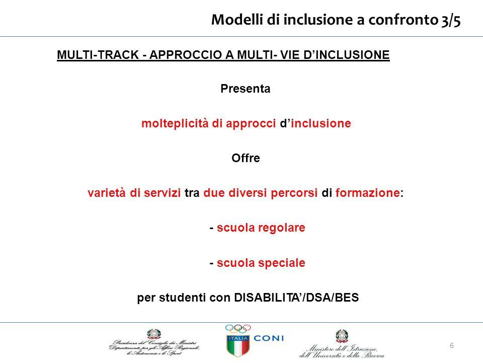 Modelli di inclusione aconfronto4/5 TWO TRACK APPROCCIO A DUE VIE D'INCLUSIONE - 2 sistemi educativi regolati con differente legislazione e norme separate - studenti con DISABILITA'/DSA/BES.