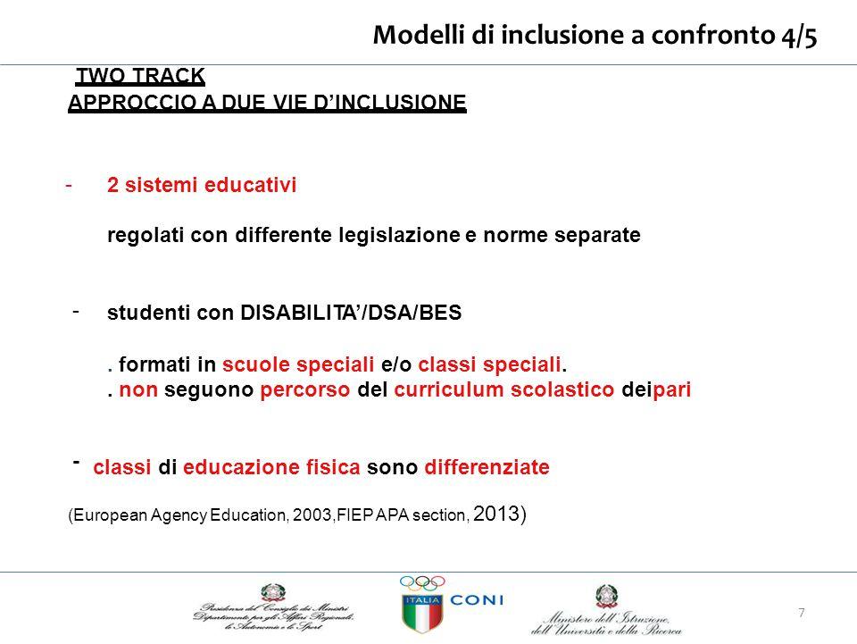 Modelli di inclusione aconfronto4/5 TWO TRACK APPROCCIO A DUE VIE D'INCLUSIONE - 2 sistemi educativi regolati con differente legislazione e norme sepa