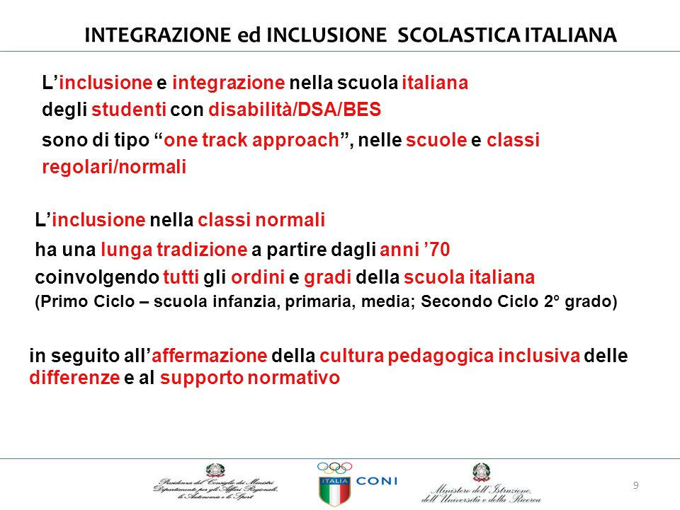 """INTEGRAZIONE ed INCLUSIONE SCOLASTICAITALIANA L'inclusione e integrazione nella scuola italiana degli studenti con disabilità/DSA/BES sono di tipo """"on"""