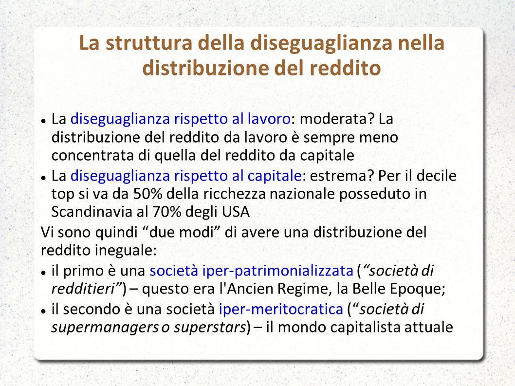 La struttura della diseguaglianza nella distribuzione del reddito La diseguaglianza rispetto al lavoro: moderata? La distribuzione del reddito da lavo