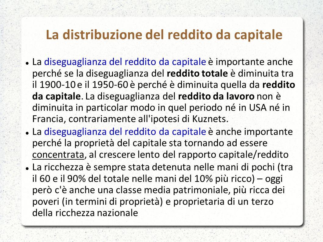 La distribuzione del reddito da capitale La diseguaglianza del reddito da capitale è importante anche perché se la diseguaglianza del reddito totale è