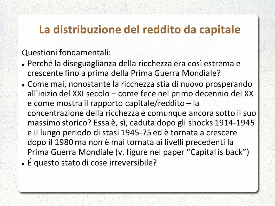 La distribuzione del reddito da capitale Questioni fondamentali: Perché la diseguaglianza della ricchezza era così estrema e crescente fino a prima de