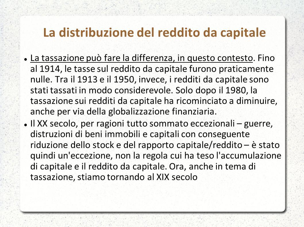 La distribuzione del reddito da capitale La tassazione può fare la differenza, in questo contesto. Fino al 1914, le tasse sul reddito da capitale furo
